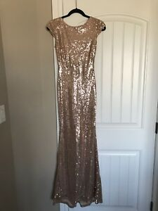Rose gold sequin evening gown