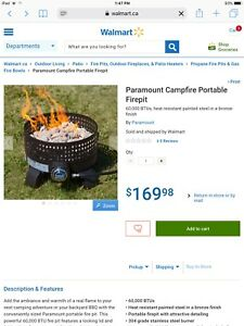 Portable propane fire pit camp fire