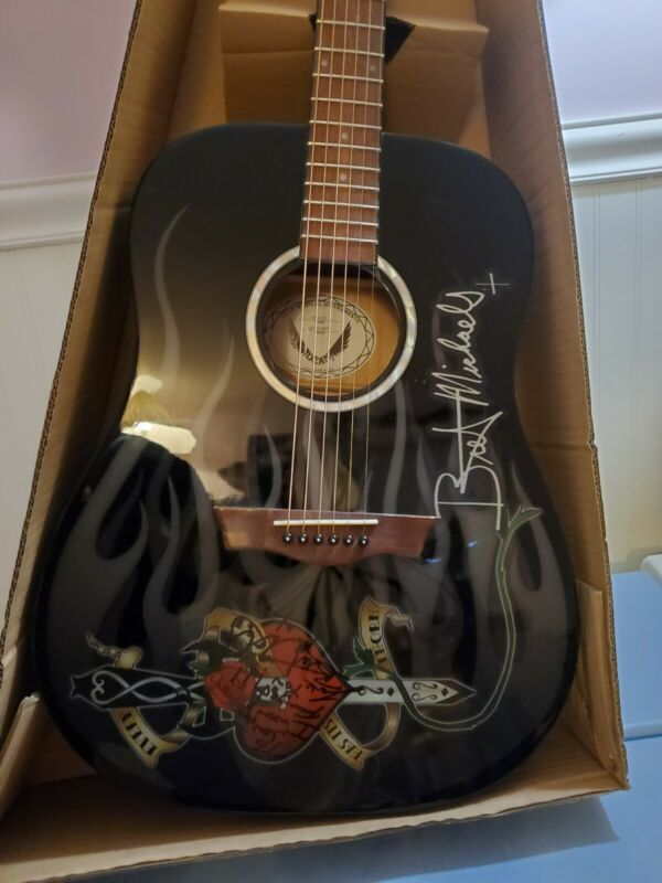 Bret Michaels Signed Acoustic Guitar,  Beautiful