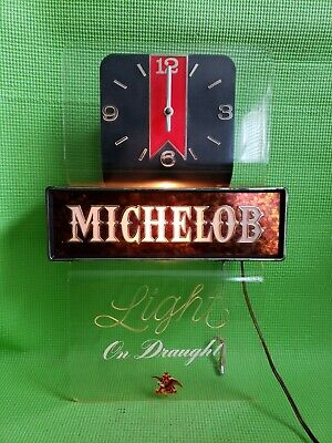 VINTAGE MICHELOB LIGHT BEER LIGHTED BAR CLOCK-LIGHT WORKS -CLOCK NOT WORKING