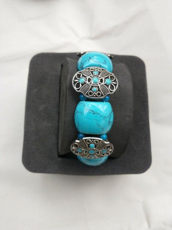 Tibetan Blue Turquoise Silver Metal Bracelet