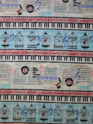 MUSIC LINES NOTES RECORDS KEYBOARD SONGS BLUE BORDER COTTON FABRIC FQ  for sale  Shipping to India