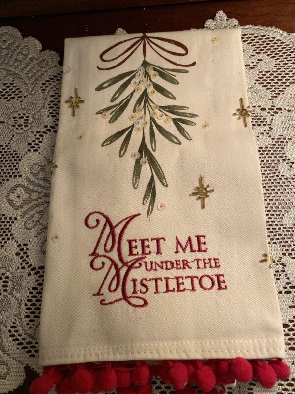 "Grasslands Roads Kitchen Tea Towel ""Meet Me Under The Mistletoe"" New"