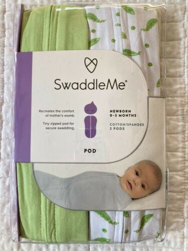 2 Baby Swaddle Me Pods Newborn 0 - 3 Months Cotton Spandex Green Pea Pods New