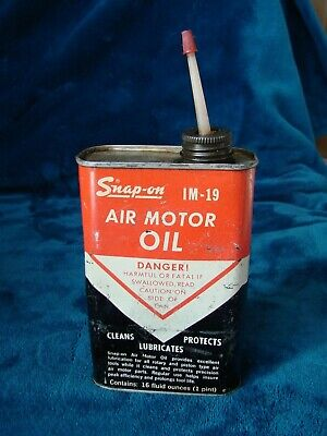 Vintage Snap On Air Motor Oil IM-19 Metal Can - Empty Can