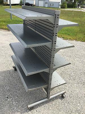 3 Heavy Steel Store Display Fixtures Gondolas Each 61h 51l 31w - Local Pickup