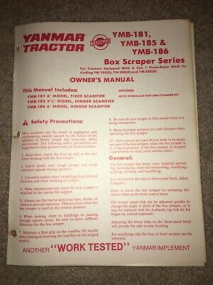 Yanmar Models Ymb-181 Ymb-185 Ymb-186 Box Scraper Owners Manual Tractor Blade