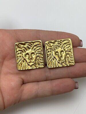 "Anne Klein Lion Logo 1"" Square Earrings Gold Tone"