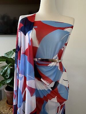 Print Power Mesh Fabric 4 Way Stretch Sold By The Yard Red/Navy/Blue/Ivory