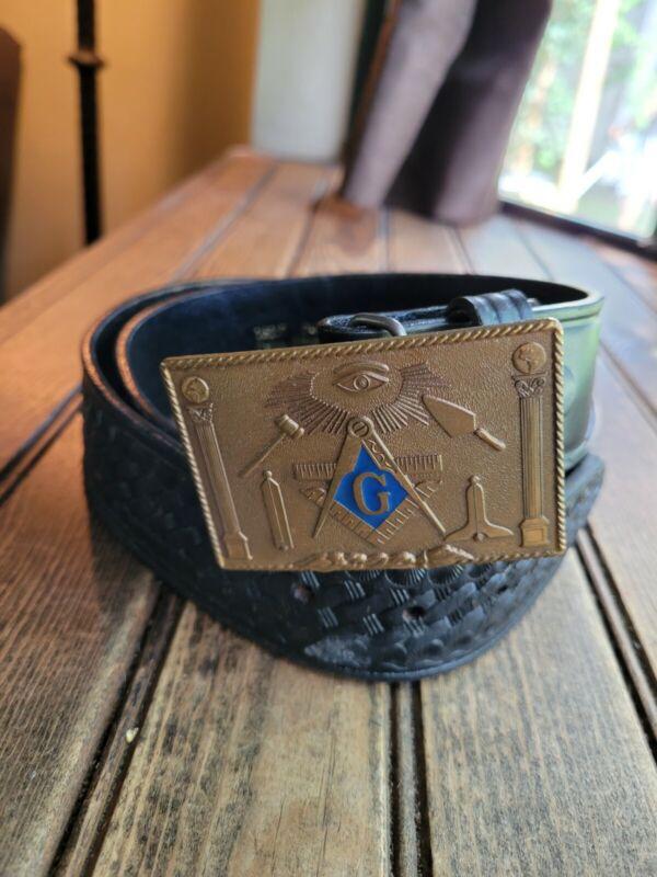 Belt Buckle Masonic Solid Bronze Enamel Harry Klitzner Co.1978 & Leatger Belt 38
