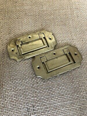 Pair Vintage 1980's Brass Recessed Military Chest Drawer Handles Lovely & Heavy