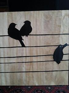 Birds on a Wire Wood Carved Panel Art Beaconsfield Cardinia Area Preview