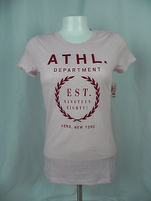 NEW Aeropostale Womens Pink Athletic Department Embroidered Logo T-Shirt (A1-15) - Logo Womens Pink T-shirt