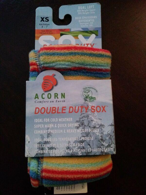 Acorn Kids Double Duty Sox Socks Size XS Kids Shoe Size 4 - 7 Rainbow New !!