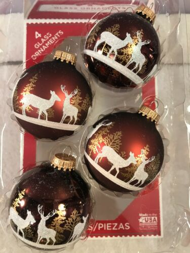 Christmas ornaments set of 4 glass reindeer in field EX5684