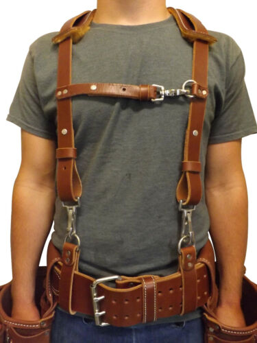 LEATHER WORK SUSPENDERS - Amish Construction Belt & Back Support USA HANDMADE