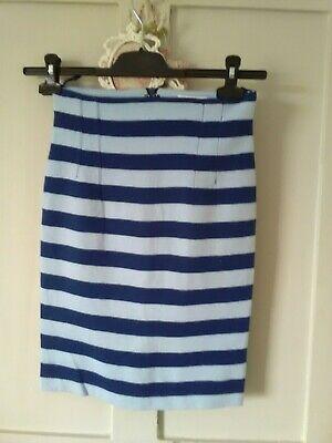 Striking Navy & Pale Blue Striped Skirt IBlues (Max Mara) UK8 Worn Twice £145