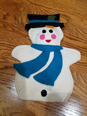 Vintage Felt Snowman Christmas Tree Topper Decor Handmade