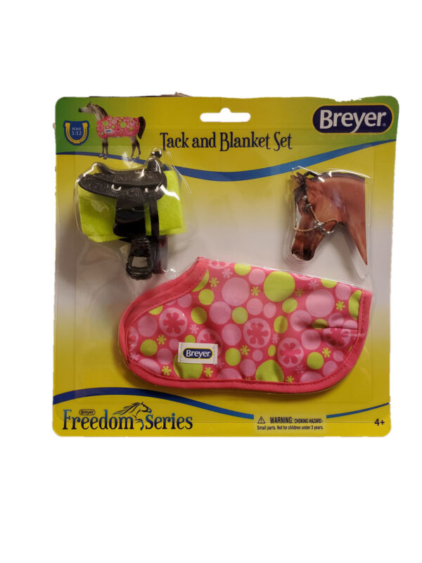 Breyer Tack & Blanket Set Ages 4+ Pink & Lime Green Western Style Scale 1:12