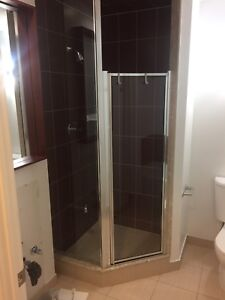 Glass shower door for a neo angle shower