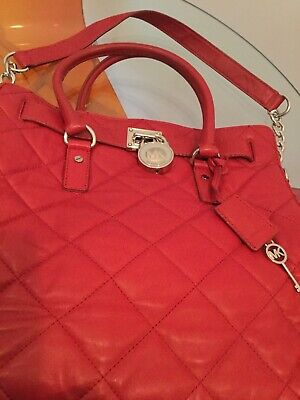 Michael Kors Large Handbag/sholder Quilted Red Leather Genuine