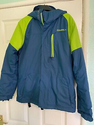 """O'Neill Snow Outerwear Firewall Size 10-12 Regular Fit Blue Lime Piping P-P 20"""""""