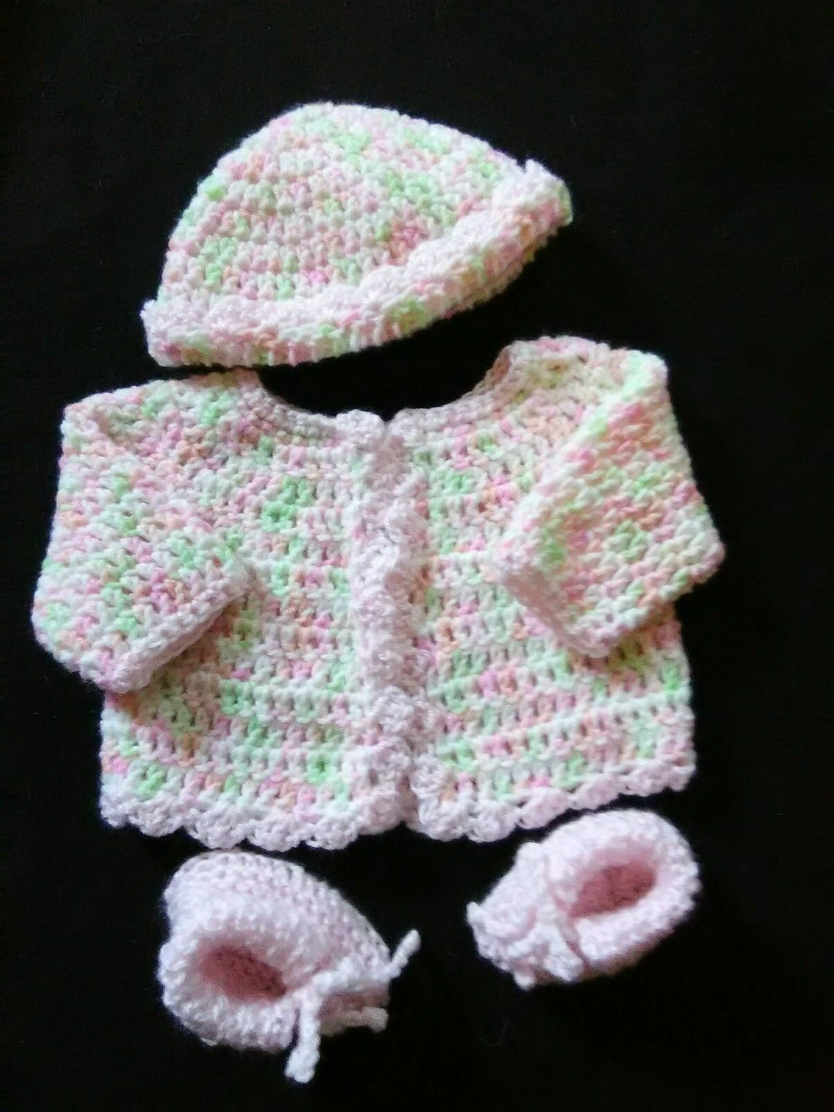 Hand Crocheted Pastel Baby Girl Sweater, Hat And Booties - $10.00