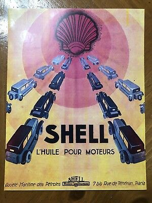 Tin Sign Vintage Shell Gasoline Motor Oil L'huile Pour Moteurs