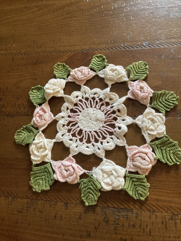 Roses & Leaves Crocheted Doily 11""