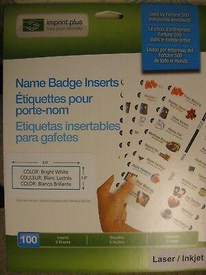 Name Badge Insert Sheets For Laser/Inkjet 901853, 1 x 3, Bright White, 100 Pack Laser Name Badge