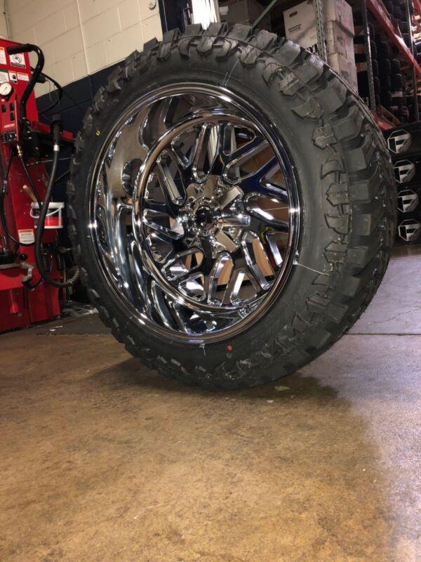 "22x12 Fuel D609 Fuel Triton Chrome Wheels 35"" Mt Tire Package 8x6.5 Chevy Gmc"