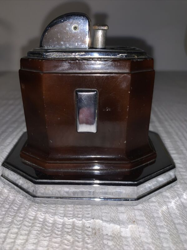 Vintage 1930s Art Deco Ronson Octette Touch Tip Table Cigar/Cigarette Lighter