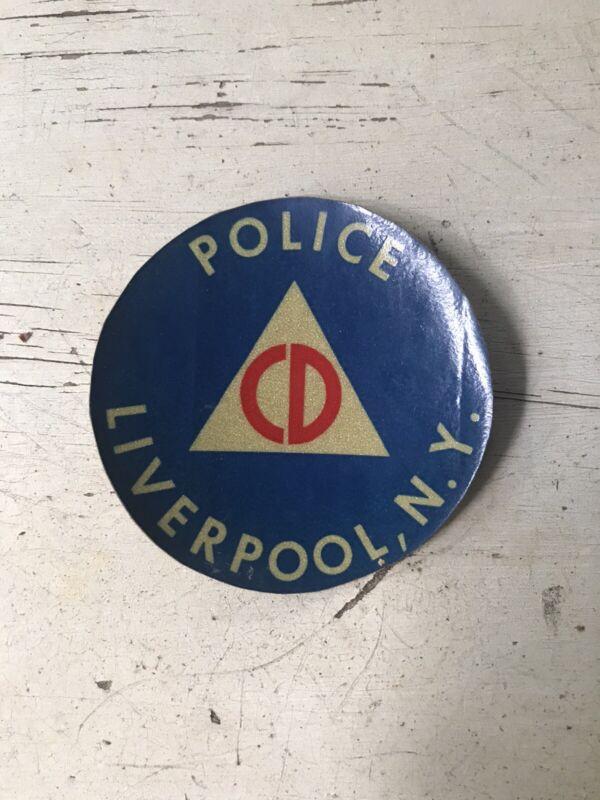 "Civil Defense Vintage Liverpool NY Police 3"" Round 3 M Decal Sticker"