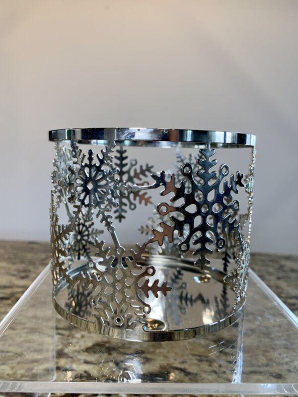Bath & Body Works Silver Snowflake Three Wick Candle Holder Sleeve
