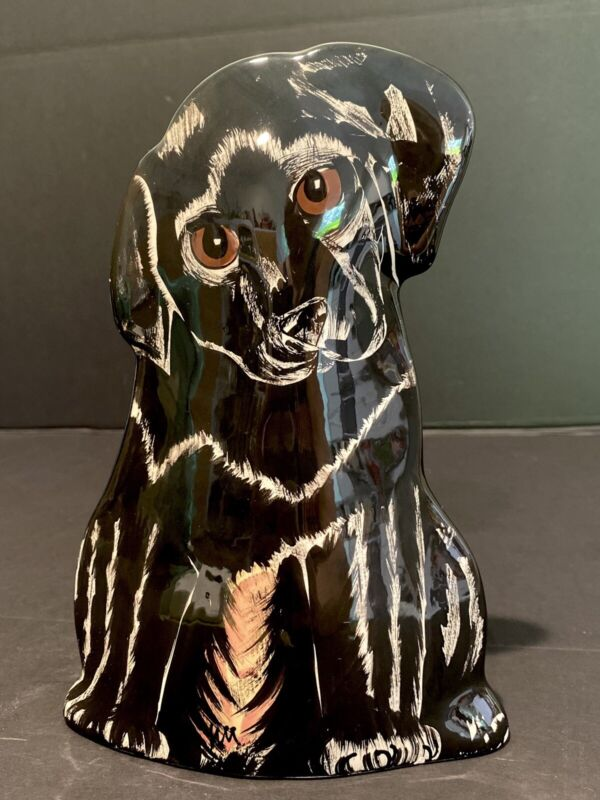 Dogs By Nina Black Lab Puppy Vase