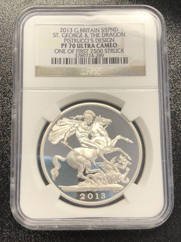 2013 Great Britain Silver £5 Pistrucci