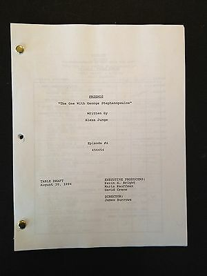 "FRIENDS TV Script ""Stephanopoulos"" Jennifer Aniston, Courtney Cox, Lisa Kudrow"