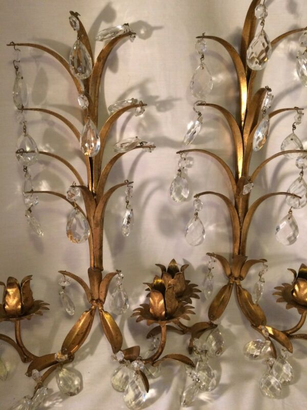 Vtg Gold Gilt Florentine Sconces Pair Crystal Prisms Hollywood Regency