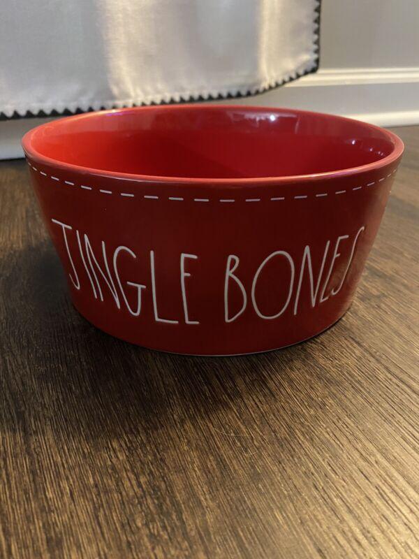 Rae Dunn Magenta LL Jingle Bones Red  Pet Dog Dish Bowl Brand new 2019