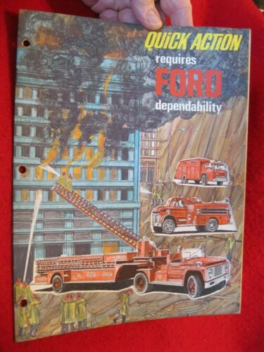 1968 Ford Fire Truck Die-Cut Sales Catalog/Brochure--ORIGINAL!  9-Pages  Budd