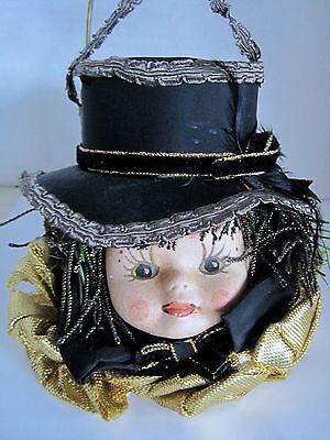 Handmade Vintage Victorian Dressed Lady Head Christmas Ornament