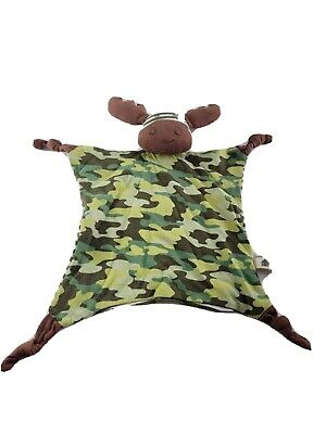 Organic Farm Buddies Marshall Moose Blanket Blankie Baby Boy Camouflage Green