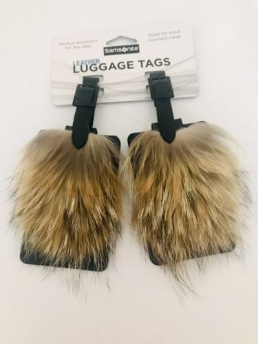 SET OF TWO 2 Black Leather Luggage Tags With Coyote Fur - $19.99