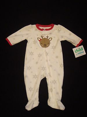 CARTER'S CHILD OF MINE Girls Sz 0-3 Month Reindeer Fleece Footed Sleeper Pajamas