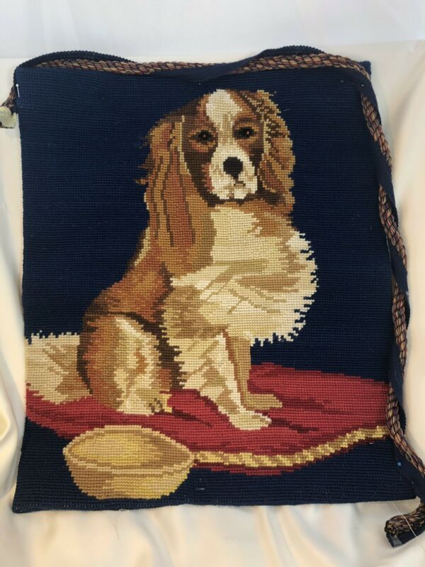 """Cavalier King Charles 21"""" Square Needlepoint ONLY w/Large Thick Welt Cord"""