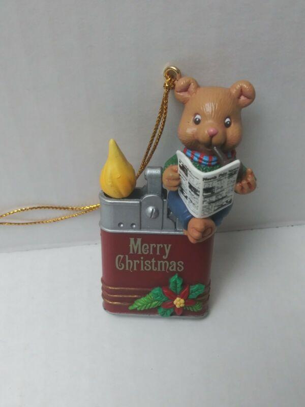 Vtg 1992 Lustre Fame Ltd. Merry Christmas Teddy Bear Ornament sitting in lighter