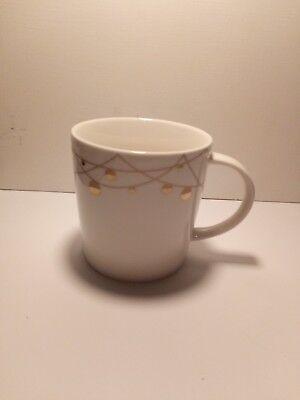 STARBUCKS 2012 Christmas Holiday Gold String of Lights Coffee Cup Mug 14 oz.