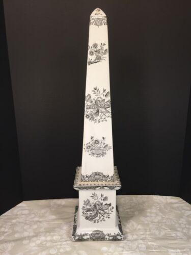 """Vtg Large Porcelain Obelisk by JUWC 1897 Makers Mark 25.5"""" Tall United Wilson"""