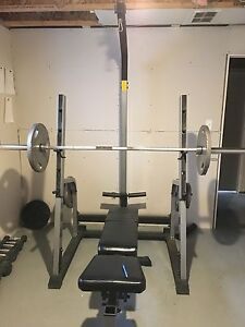 Squat rack, bars and weight plates