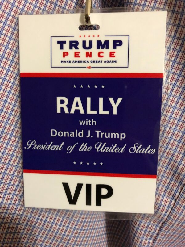 President Donald Trump VIP Access Rally Pass Rare United States Mike Pence Used